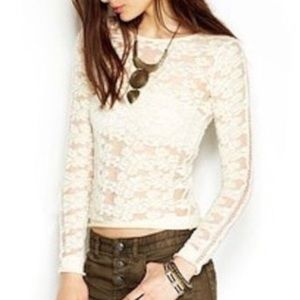 Free people long sleeve sheer lace top
